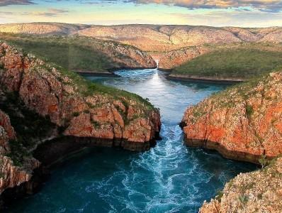 Горизонтальные водопады в бухте Талбот (Австралия)